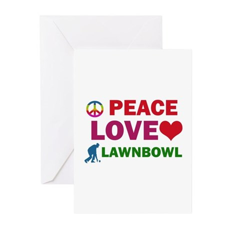 Peace Love Lawnbowl Designs Greeting Cards (Pk of