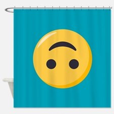 Emoji Upside Down Smiling Face Shower Curtain