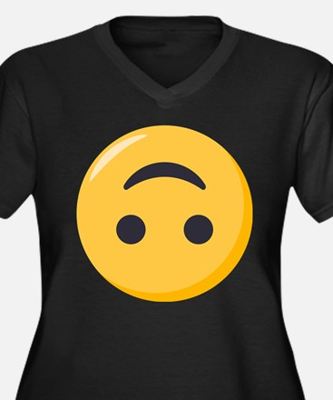 Emoji Upside Women's Plus Size V-Neck Dark T-Shirt