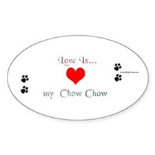 Chow Love Oval Decal