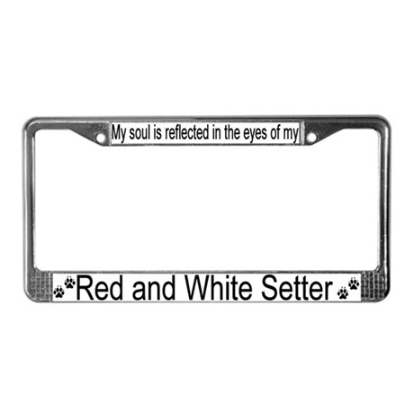 """Red and White Setter"" License Plate Frame"