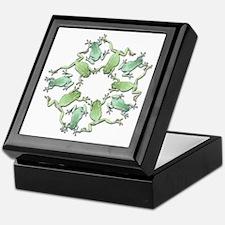 Circle of White's Tree Frogs Keepsake Box