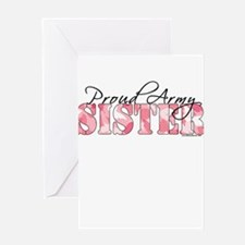 Proud Army Sister (Pink Butterfly Camo) Greeting C