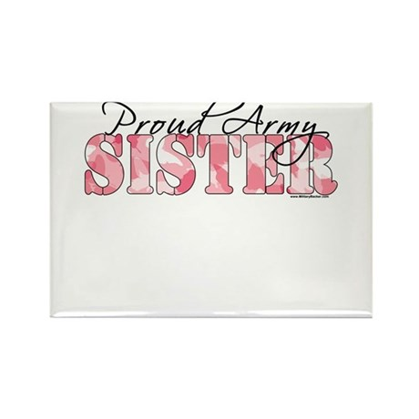 Proud Army Sister (Pink Butterfly Camo) Rectangle