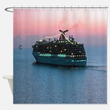Cruise Ship at Sunset Shower Curtain