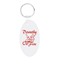 Dorothy On Fire Aluminum Oval Keychain