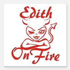 """Edith On Fire Square Car Magnet 3"""" x 3"""""""