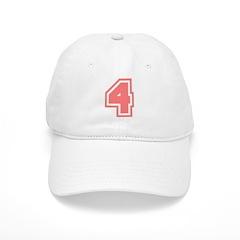 Varsity Uniform Number 4 (Pink) Baseball Cap