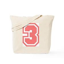 Varsity Uniform Number 3 (Pink) Tote Bag