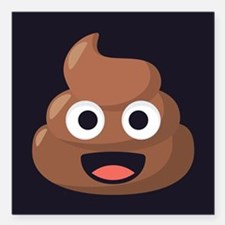 "Poop Emoji Square Car Magnet 3"" x 3"""
