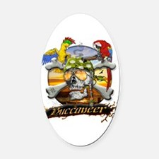 pirateparrotposter5-12sq.png Oval Car Magnet