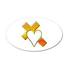 Yellow Cross and Heart Wall Sticker