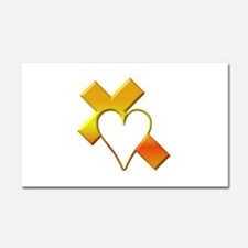 Yellow Cross and Heart Car Magnet 20 x 12