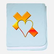 Yellow Cross and Heart baby blanket