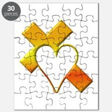 Yellow Cross and Heart Puzzle
