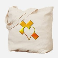 Yellow Cross and Heart Tote Bag