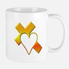 Yellow Cross and Heart Mug