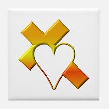 Yellow Cross and Heart Tile Coaster