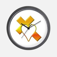 Yellow Cross and Heart Wall Clock