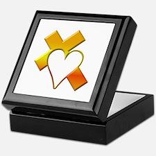 Yellow Cross and Heart Keepsake Box
