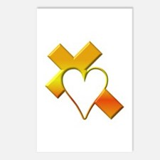 Yellow Cross and Heart Postcards (Package of 8)