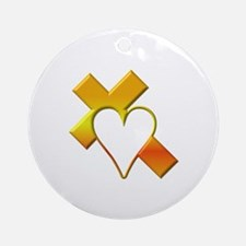 Yellow Cross and Heart Ornament (Round)