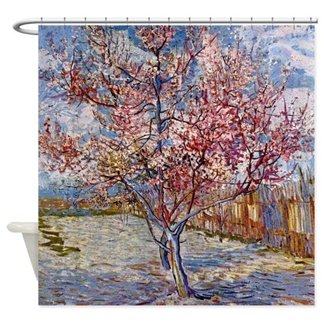 van gogh peach tree in bloom shower curtain