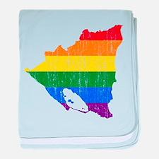 Nicaragua Rainbow Pride Flag And Map baby blanket