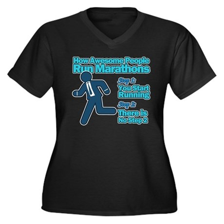 Marathons Women's Plus Size V-Neck Dark T-Shirt