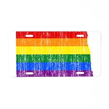 North Dakota Rainbow Pride Flag And Map Aluminum L