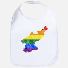 North Korea Rainbow Pride Flag And Map Bib
