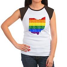 Ohio Rainbow Pride Flag And Map Women's Cap Sleeve