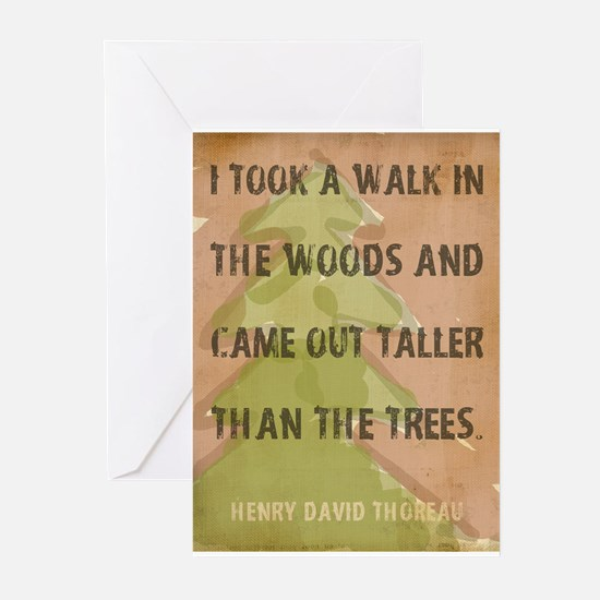 Thoreau Walk In The Woods Quote Greeting Cards