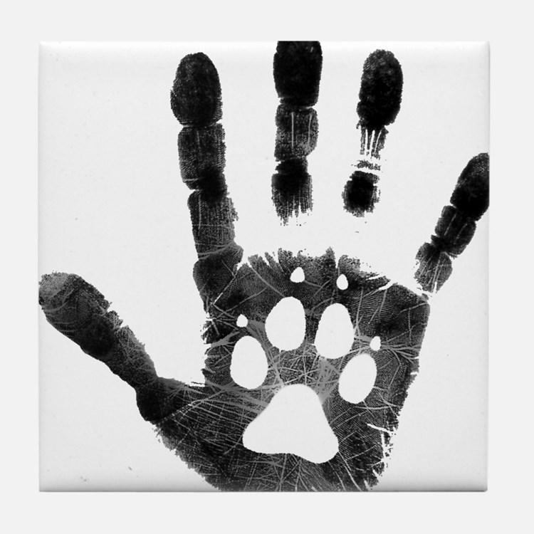 Lobo Paw Print Tile Coaster