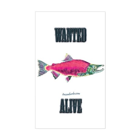 Salmon Wanted Alive Rectangle Sticker