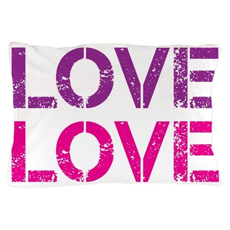 Funky LOVE - pink and purple Pillow Case