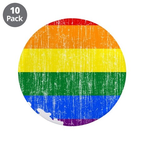 "Poland Rainbow Pride Flag And Map 3.5"" Button (10"