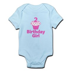 2nd Birthday Girl Cupcake Infant Bodysuit