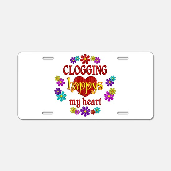 Clogging Happy Aluminum License Plate