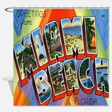 Miami Beach Postcard Shower Curtain