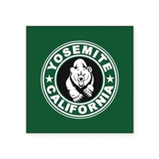 "Yosemite Green Circle Square Sticker 3"" x 3"""