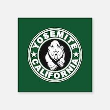 "Yosemite Green Circle Square Sticker 3"" x 3"""