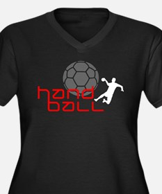 handball Women's Plus Size V-Neck Dark T-Shirt