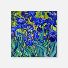 "Van Gogh - Irises 1889 Square Sticker 3"" x 3"""