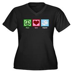Peace Love Origami Women's Plus Size V-Neck Dark T