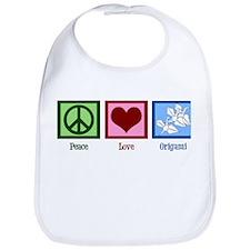 Peace Love Origami Bib