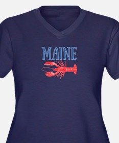 Maine Lobste Women's Plus Size V-Neck Dark T-Shirt