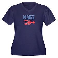 Maine Waterc Women's Plus Size V-Neck Dark T-Shirt