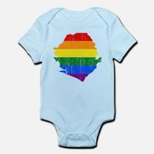 Sierra Leone Rainbow Pride Flag And Map Infant Bod