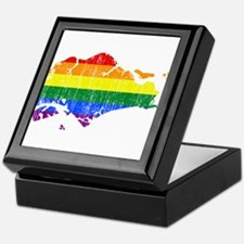 Singapore Rainbow Pride Flag And Map Keepsake Box